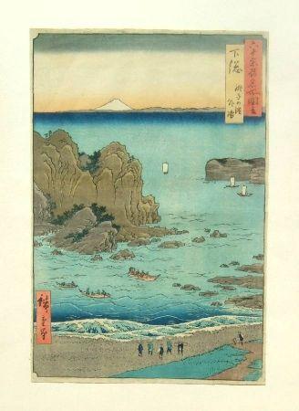 木版 Hiroshige - The Outer Bay at Choshi Beach in Shimosa Province
