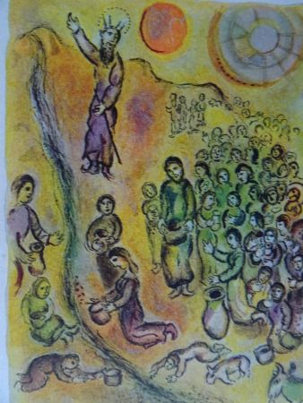 リトグラフ Chagall - The Story of the Exodus, plate 12: Et tu touchera le Rocher..