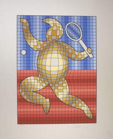 多数の Vasarely - The Tennis Player