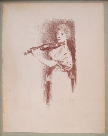 リトグラフ Khnopff - The Violinist