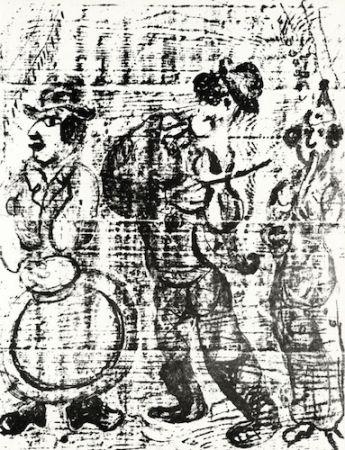 リトグラフ Chagall - The Wandering Musicians