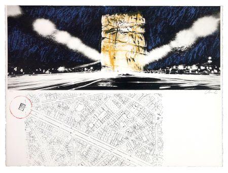 リトグラフ Christo - The wrapping of l'Arc de Triumph (l'empaquement de l'Arc de Triomphe)
