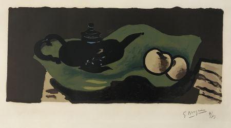 リトグラフ Braque - Theiere et Pommes