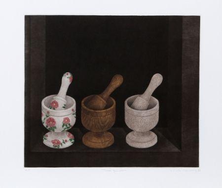 メゾチント彫法 Hwang - Three Mortars and Pestle