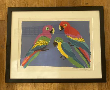 リノリウム彫版 Ting - Three Parrots