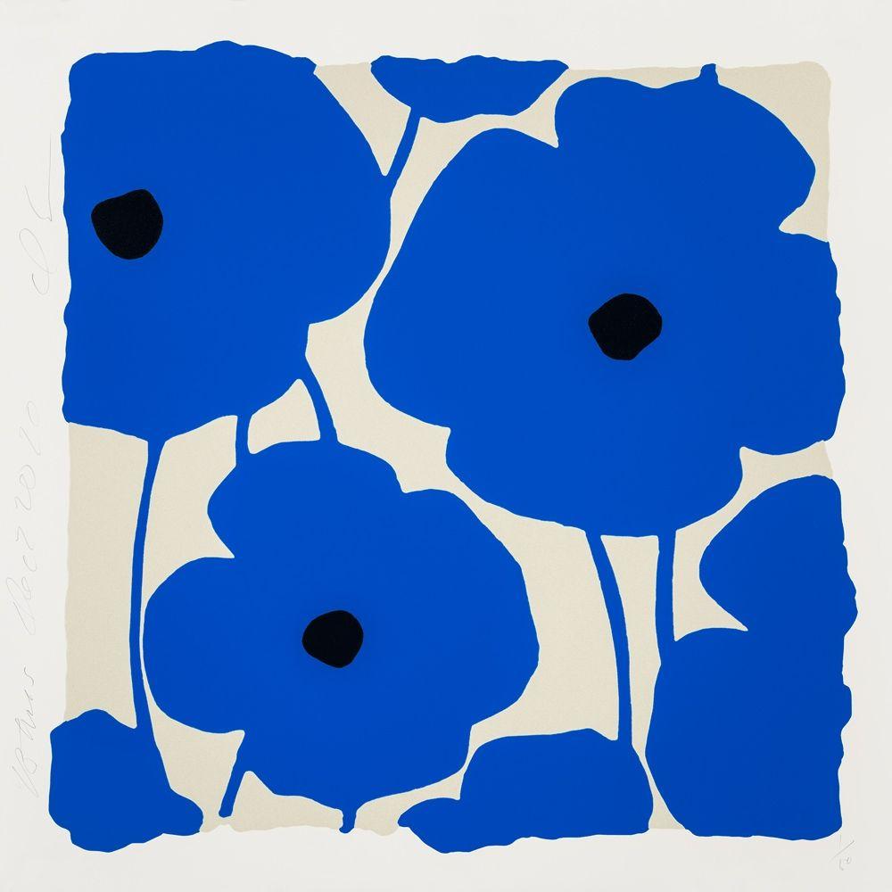 シルクスクリーン Sultan - Three Poppies (Blue)