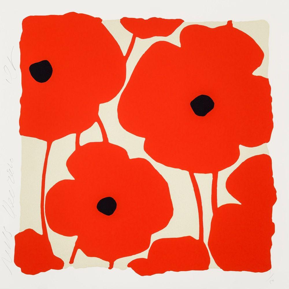 シルクスクリーン Sultan - Three Poppies (Red)