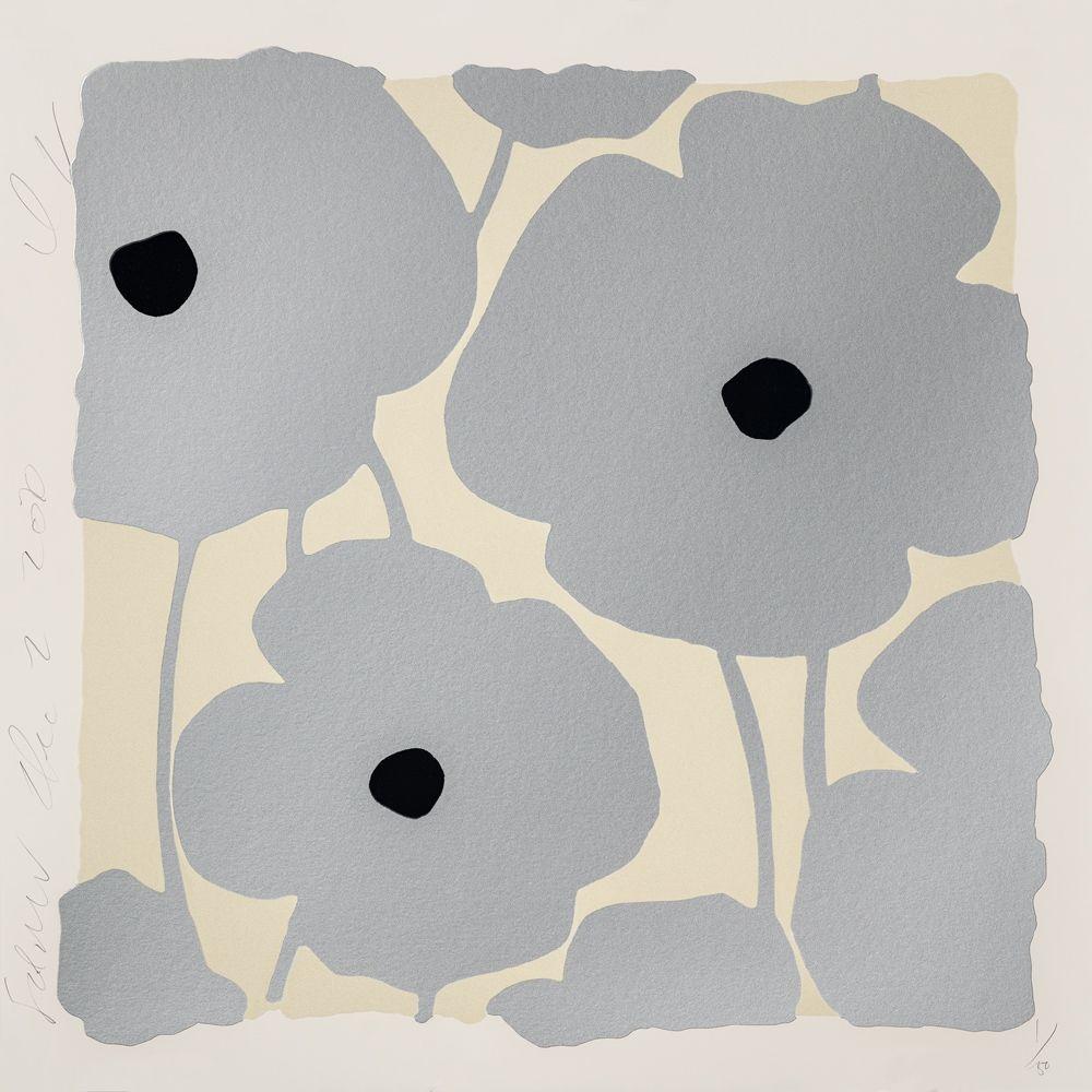 シルクスクリーン Sultan - Three Poppies (Silver)