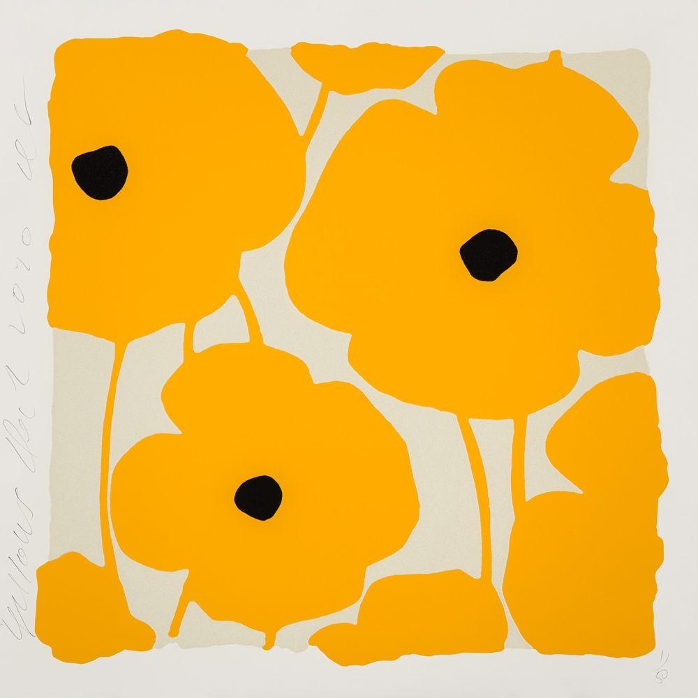シルクスクリーン Sultan - Three Poppies (Yellow)