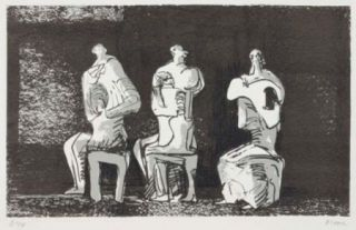 リトグラフ Moore - Three Seated Figures In Setting