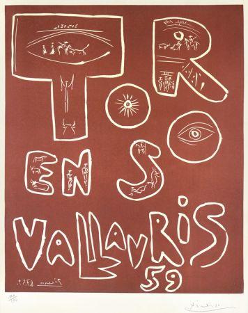リノリウム彫版 Picasso - Toros En Vallauris, 1959