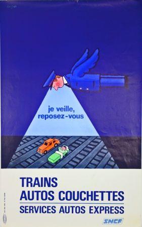 リトグラフ Savignac - Trains Autos Couchettes