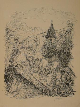 リトグラフ Kubin - Transport im Gebirge