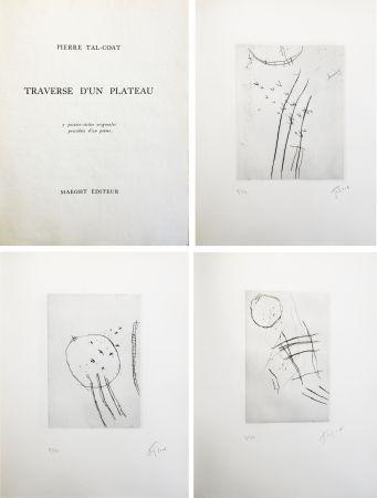 挿絵入り本 Tal Coat - TRAVERSE D'UN PLATEAU. 7 pointes sèches originales signées (1963).