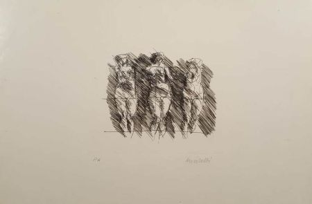 リトグラフ Morlotti - Tre dame