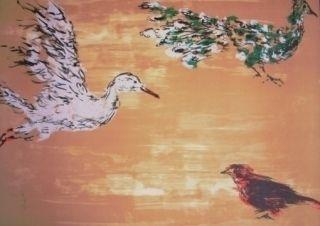 リトグラフ Tian-Tian - Treasure birds 1
