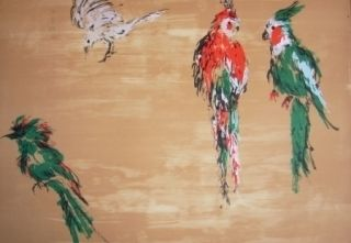 リトグラフ Tian-Tian - Treasure birds 2