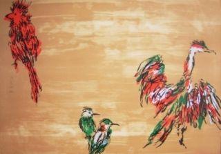 リトグラフ Tian-Tian - Treasure birds 3