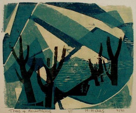 木版 Haas - Trees and Mountains