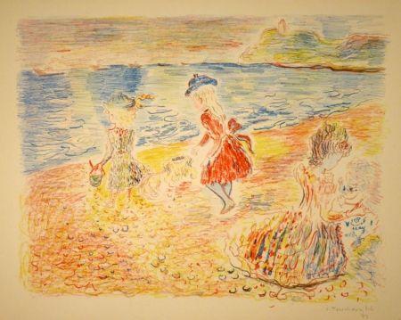 リトグラフ Terechkovich - Trois enfants sur une plage / Drei spielende Mädchen am Strand