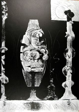 リトグラフ Sutherland - Trois formes debout