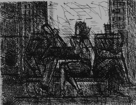 エッチング Gromaire - Trois personnages sur un banc