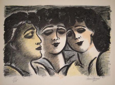 リトグラフ Masereel - Trois visages