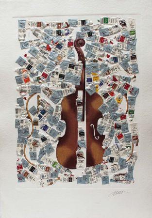 彫版 Arman - Tubes et violin