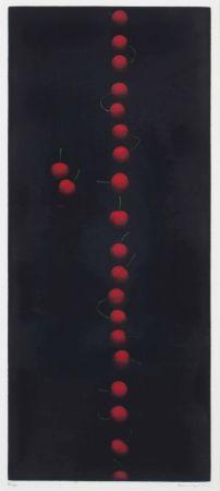 メゾチント彫法 Hamaguchi - Twenty-Two Cherries (Red)