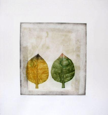 メゾチント彫法 Hwang - Two leaves