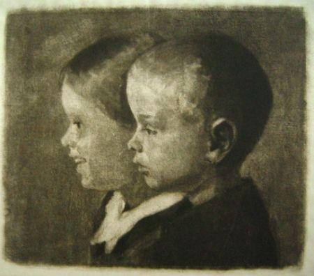 メゾチント彫法 Ilsted - Two Of The Children Of The Artist