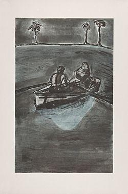エッチング Doig - Two People at Night (indigo)