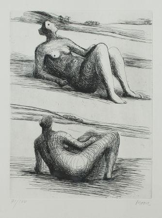 エッチングと アクチアント Moore - Two reclining figures