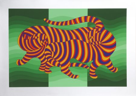 シルクスクリーン Vasarely - Two Tigers on Green