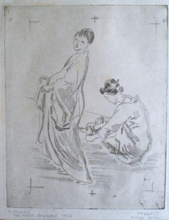 彫版 Foujita - Two woman