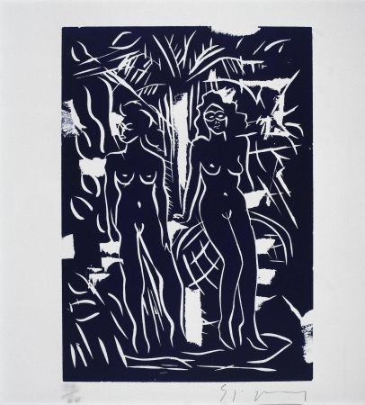 リノリウム彫版 Szczesny - Two Women in Blue