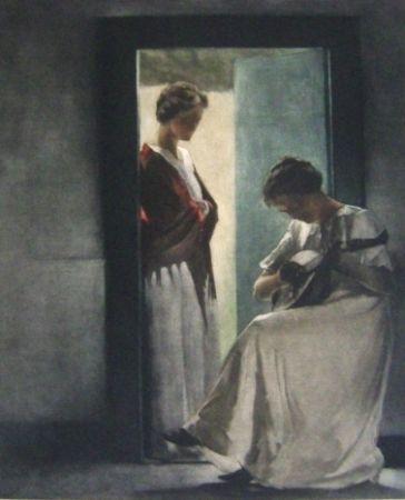 メゾチント彫法 Ilsted - Two Young Women In A Doorway