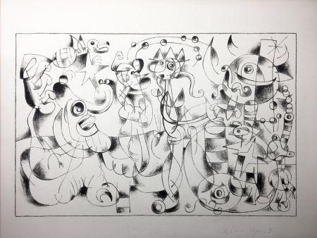リトグラフ Miró - Ubu Roi. Suite En Noir À Grandes Marges Des Treize Lithographies Pour Ubu Roi (1966).