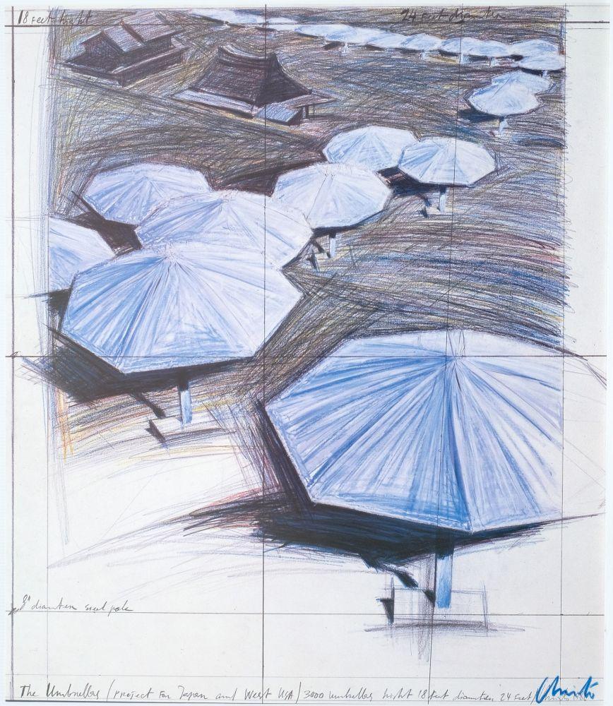 オフセット Christo - Umbrellas Blue I I I