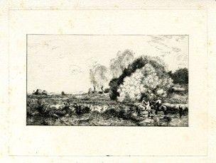 彫版 Corot - Un gué