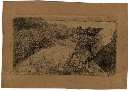 彫版 Fattori - UN PONTE SULL'AFFRICO (A Bridge on the Affrico Torrent)