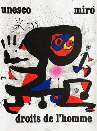 掲示 Miró - UNESCO - DROITS DE L'HOMME -MIRO. Affiche originale de 1974.