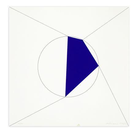 シルクスクリーン Alviani - Uno. Due. Tre. Quattro. poligono regolare a lati progressivi iscritto nel cerchio, 1978/1993