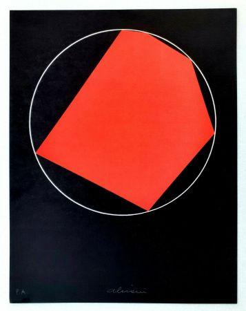 リトグラフ Alviani - Unoduetrequattrocinquesei poligono inscritto nel cerchio