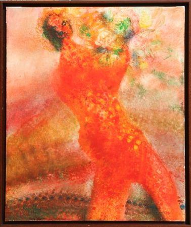 リトグラフ Ripolles - Untitled - Figure with Flowers