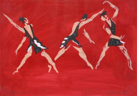 """技術的なありません Caulfield - Untitled (Female Costume Design for """"Party Game"""" 1984"""