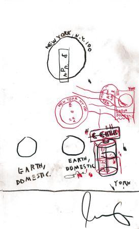 技術的なありません Basquiat - Untitled Original Crayon Drawing On Paper,