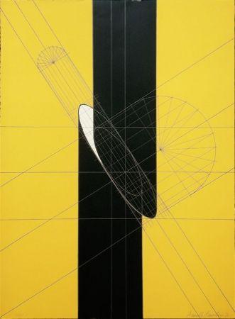 リトグラフ Pomodoro - Untitled (Slashed column)