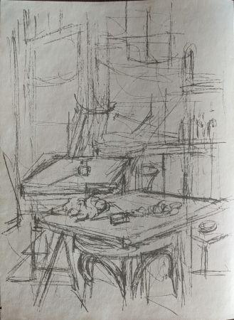 リトグラフ Giacometti - Untitled (tables in studio)