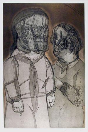 エッチングと アクチアント Cuevas - Ustine y el Marquez de Sade from the Intolerance Portfolio